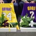 Kobe and Gigi Bryant Jerseys on display in memorial