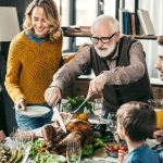 Family sitting down for Thanksgiving dinner